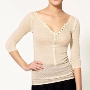 Free People Knit Sweater Henley Sheer Sparkle